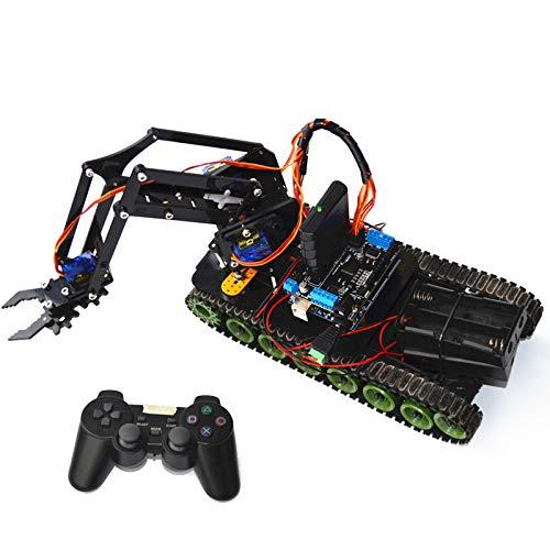 LYY DIY Programmable Tracked Tank Chassis Plattform mit mechanischem Roboterarm für das Arduino-Training, kompatibel mit Ps2-Controller, STEM-Lernspielzeug für Erwachsene Kinder