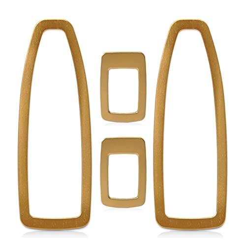 FLILING 4 piezas de aleación de aluminio para puerta de coche, panel de interruptor de ventana dorado para BMW Serie 3 F30 F34 320 328 2013 2014 2015 (dorado)