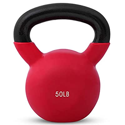Kettlebell Weights Vinyl Coated Iron by Day 1 Fitness- 50 Pounds - Coated For Floor and Equipment Protection, Noise Reduction - Free Weights For Ballistic, Core, Weight Training from Day 1 Fitness