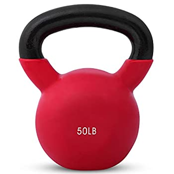 Kettlebell Weights Vinyl Coated Iron by Day 1 Fitness- 50 Pounds - Coated For Floor and Equipment Protection Noise Reduction - Free Weights For Ballistic Core Weight Training
