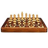 木製ポータブルチェスセット、チェッカーボード手作り木製伝統戦術戦略ゲーム