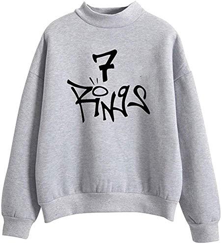 Angel ZYJ Femmes Mode Ariana Grande 7 Rings Sweatshirt Music Fans des Vêtements Décontractés Sweatshirt Pullover Manches Longues Tops (Gris, L)