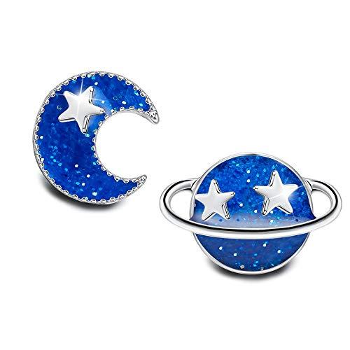Sllaiss Planeta Tierra Luna Azul Luna Stud Pendientes para Mujeres Niñas 925 Pendientes Asimétricos de plata de ley Hipoalergénicos