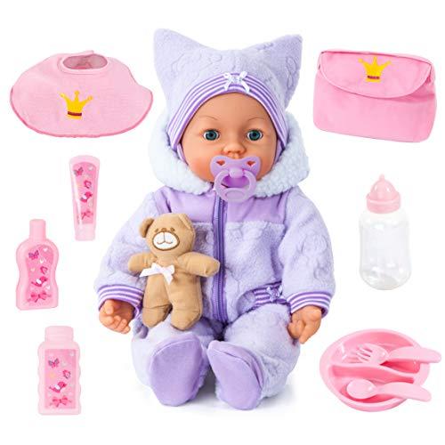 Bayer Design 94694AA, Funktionspuppe, Interaktive Puppe Piccolina Magic Eyes, bewegt den Mund, blinzelt und schließt die Augen, sprechend, lila, 46cm
