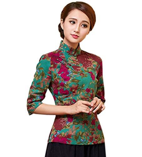 Yue Lian Damen Frauen Sommer Stehkragen Halfärmlig Qipao Stil Bluse mit druckte Muster (EU:38-China:XL, Farbe 15)