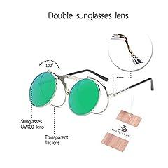 BOZEVON Flip up Round Sunglasses - Metal Steampunk Retro Circle Eyewear for Men & Women Silver Green #4