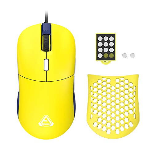 Ajazz F15 Amber Gaming Mouse with Replaceable Honeycomb Shell, RGB Backlit, 16400 DPI, Programmable 8 Buttons, Symmetrical Shape with Side Buttons on Both Sides for Left and Right Hands, Yellow