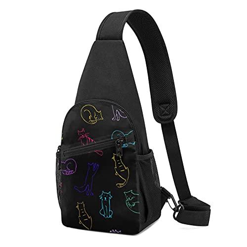 Risating Schulter-/Brust-Crossbody-Taschen zum Spielen von Katzen und Zeichnungen, verstellbarer Rucksack, langlebig, für Outdoor-Reisen, für Herren und Damen, waschbar, Polyester