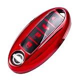 WORCAS Smart Key Fob Cover Soft TPU Key Case Keyless Compatible with 4 Button Nissan Altima Maxima Armada Murano Rogue Versa Pathfinder Leaf Sentra GT-R Infiniti EX FX X G JX M Q QX Series (Red)