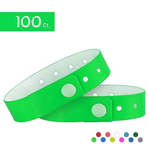 Pulseras de vinilo Ouchan, tres capas, resistentes al agua, color verde neón, ideales para eventos, paquete de 100 unidades, verde neón