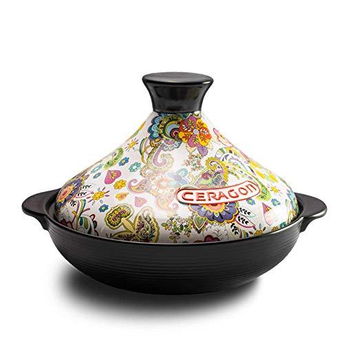 Tajine-Topf, emaillierter Gusseisen-Auflauf, marokkanischer Blumenmuster-Topf Antihaft-exotischer Eintopf mit kreativem Deckel Open Fire Gas Safe -a 2l