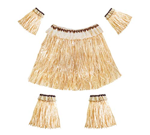 5Pcs Women Men Elastic Hawaiian Party Grass Skirt Stage Performances Costume Set, Straw Color