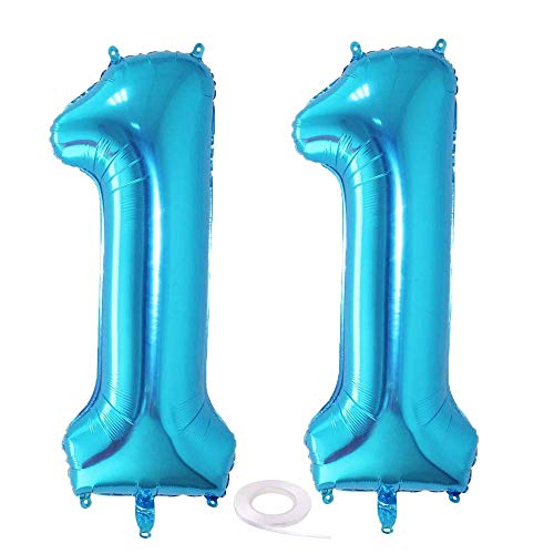 SNOWZAN Globo de 11 cumpleaños azul para decoración de cumpleaños de 11 años, niño, 11 globos de cumpleaños, color azul