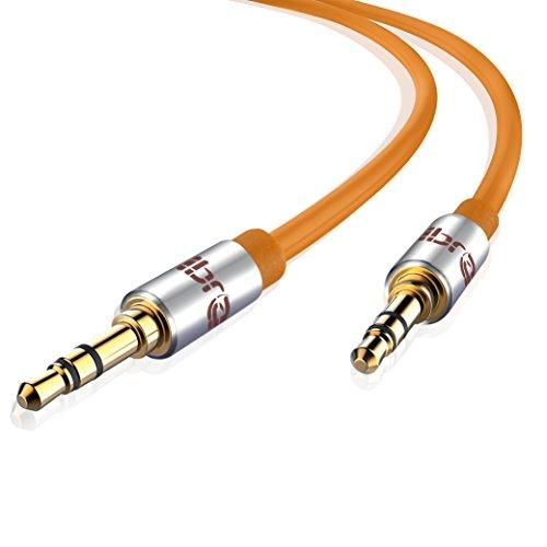 Aux Kabel [ 3m ] - IBRA Stereo Audio Klinkenkabel 3m - 3,5mm Klinken Stecker zu 3,5mm Klinken Stecker - für Kopfhörer, Apple iPhone iPod iPad, Heim/KFZ Stereoanlagen, Smartphones, MP3 Player und mehr - Orange