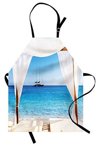 ABAKUHAUS Balinesen Kochschürze, Strand durch balinesische Bett Sommer Sunshine Clear Sky Flitterwochen Natural Spa Bild, Farbfest Höhenverstellbar Waschbar Klarer...