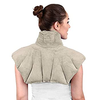 Large Microwavable Heating Pad for Neck and Shoulders - 5 Lb Heavy Duty Weight for Deep Heat Therapy Neck Relief Stress Relief Anxiety Relief Neck Wrap Alternative to Rice Bags  Unscented Gray