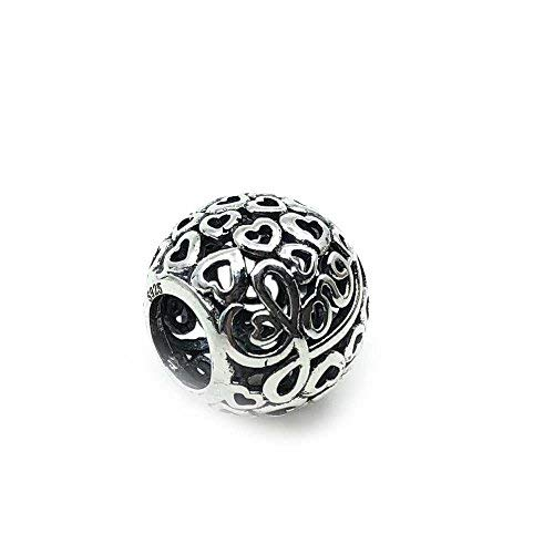 Charm 100% Plata de Ley 925 para Pulseras para Charms Tipo Pandora, Chamilia, Biagi, Swarovski. Abalorios,Beads,dijes,Charms Plata (Bola Corazones)