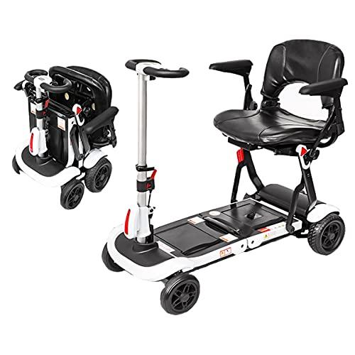 GWXSST Silla de ruedas plegable de 4 ruedas con asiento para adultos mayores, minusválidos, plegable, portátil, ligera, motorizada, para todo terreno, para viajes al aire libre