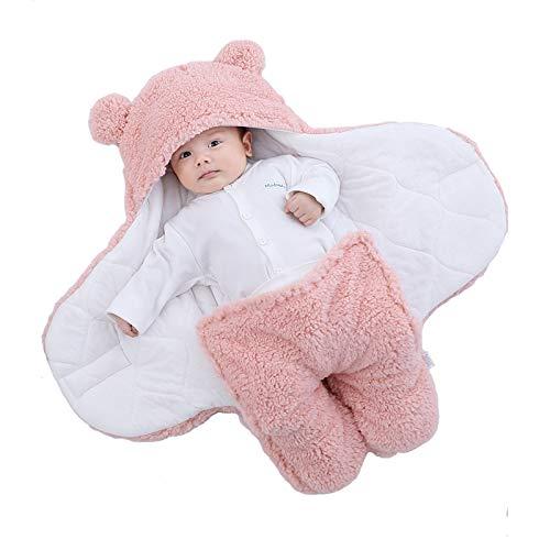 Yanding Saco de dormir envuelto para bebé, forma de oso de peluche, adecuado para bebés de 0 a 6 meses, mantas de felpa unisex, fácil de limpiar (3 a 6 meses, rosa)
