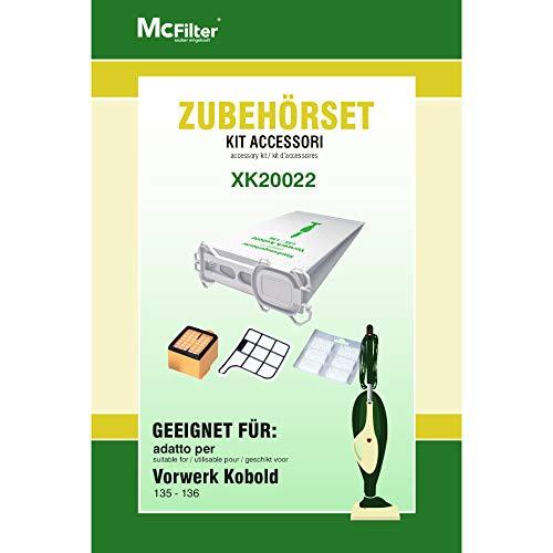 Juego de accesorios para aspiradoras Vorwerk Kobold 135, 136, 135SC, 12 bolsas para aspiradora, 1 filtro HEPA y 1 filtro de protección del motor
