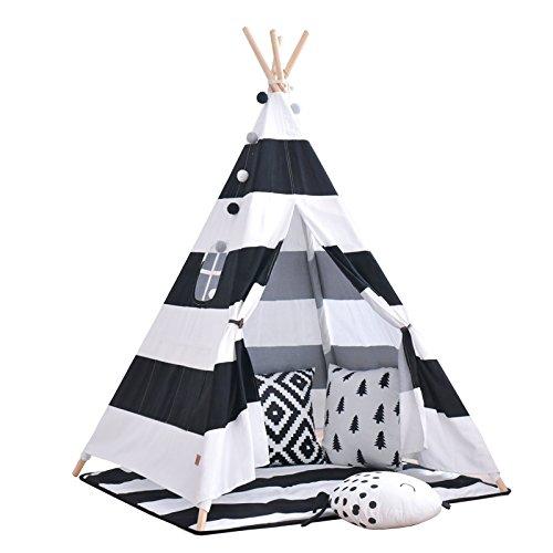 little dove Tipi Spielzelt für Kinder mit Bodenmatte Baumwolle -Komm mit Matratze