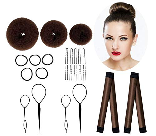 Hair Bun Maker Set Brown, Make Easy Buns, 3 Donuts + 2 Snap Bun Makers + 4 Topsy Tail Hair Tool + 5 Hair Tie Elastic Bands + 10 Bobby Pins