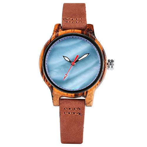 Reloj de Madera para Mujer Relojes dePulsera de Cuero Relojes Casuales para Dama Azul