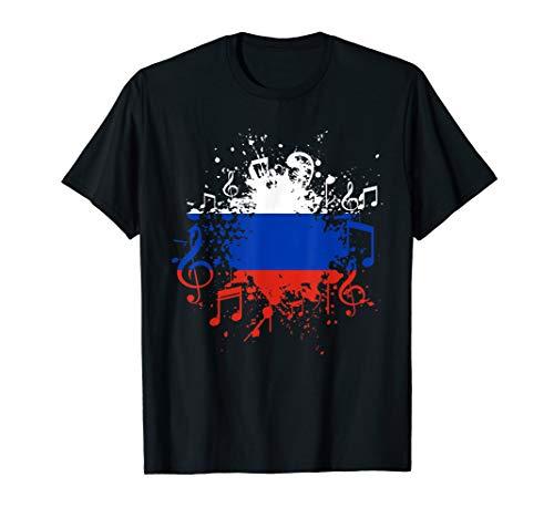 Russland Flagge Musik Russische Fahne Russe Musiker T-Shirt