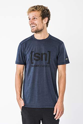 [エスエヌ スーパーナチュラル] Tシャツ ヨガ・メリノウール・アウトドアTシャツ メンズ SNM005240 Blue Iris Melange/Jet Black Logo EU M (日本サイズL相当)