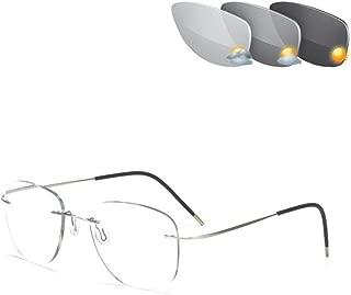 CAOXN Ultralight Titanium Reading Glasses Mens Womens Rimless Pilot Photochromic Transition Uv400 Sunglasses Presbyopic Eyeglasses Readers,Silver+100