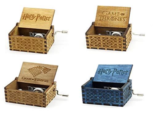 IsEasy Juego de 4 cajas de música Harry Potter/Got de madera con manivela, melodía personalizada Harry Game of , ideas regalo de Navidad económicas unisex, ideas regalo originales para niños Navidad