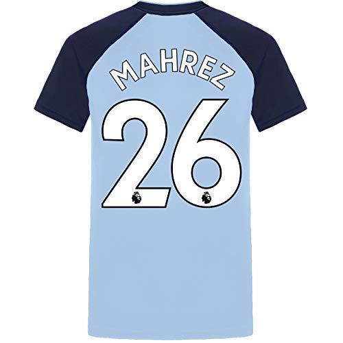 Manchester City FC - Herren Trainingstrikot aus Polyester - Offizielles Merchandise - Geschenk für Fußballfans - Himmelblau mit V-Ausschnitt Mahrez 26 - L