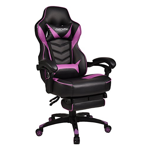 Video Gaming Chair Racing Office - PU Leather High Back Ergonomic Adjustable Swivel Executive Computer Desk Task Large Size with Footrest,Headrest and Lumbar Support