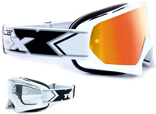 TWO-X Race Crossbrille Weiss verspiegelt irridium MX Brille Motocross Enduro Spiegelglas Motorradbrille Anti Scratch MX Schutzbrille