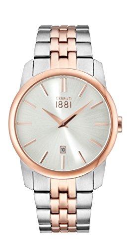 Cerruti Herren Analog Klassisch Quarz Uhr mit Edelstahl Armband CRA117STR07MRT