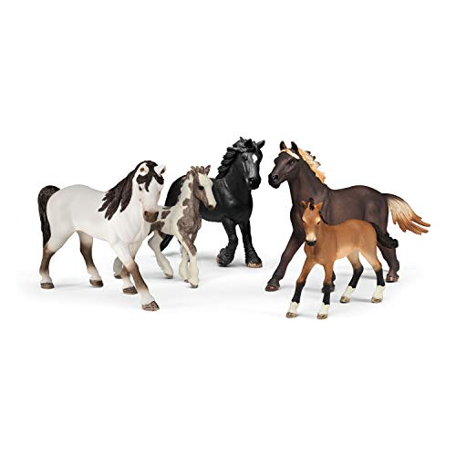 SCHLEICH Farm World 5 Horses Collectors Pack Educational Figurine for Kids Ages 3-8