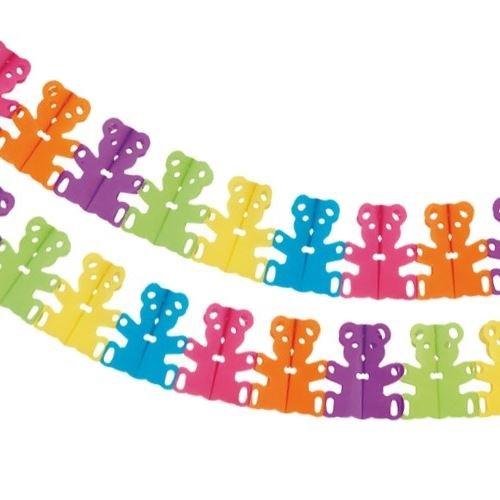 CONCEPT4U 4m Teddy Bear Garland Multicolour Rainbow Hanging Party Decoration Kids Children Birthday Baby Shower Bunting Celebration Banner