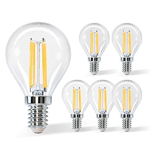 Aigostar Filamento Bombillas Led E14 Luz Calida 2700K,4W Equivalente a 40 W,470 Lúmenes,Ángulo De Apertura:360°,No Regulable,G45,Pack De 5 Uds