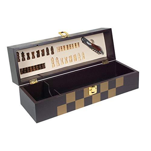 Caja Decorativa para Botella de Vino con Ajedrez. Sacacorchos Regalos Originales, Juegos de Mesa. Menaje de Cocina. Cajas Multiusos. 36,50 x 11,50 x 11,50 cm.