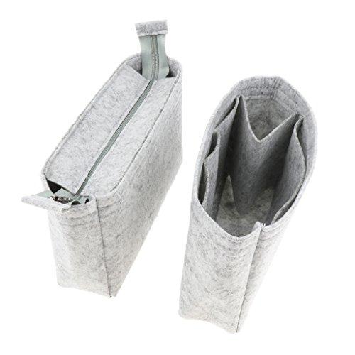 chiwanji 2pcs Filz Insert Bag Multi Taschen Handtasche Geldbörse Organizer Halter Make Up Travel - Hellgrau
