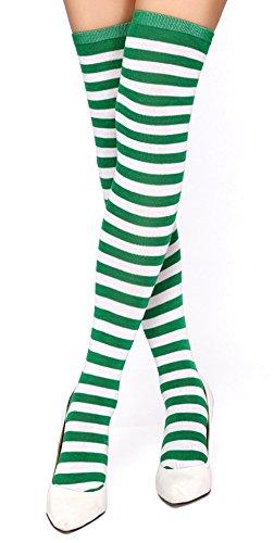 Krautwear® Damen Gestreifte Overknees Strümpfe Ringelstrümpfe Karneval Fasching Cosplay 80er Jahre (grün/weiss)