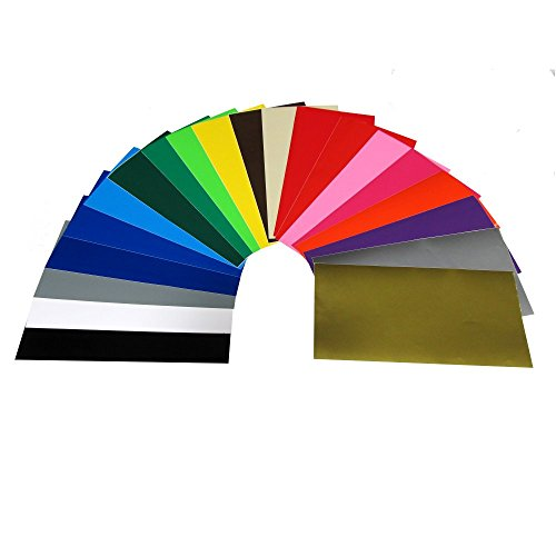 "Craft E Vinyl - 12"" x 24"" - 20 Sheets Assorted Glossy Colors of Permanent Adhesive Backed Vinyl for Cricut Cutters, CraftROBO Cutters, Pazzles Cutters, QuicKutz Cutters - CEV1301"