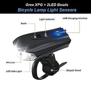 WOSTOO Luces Bicicleta, Luces De Bicicleta Faro y Luz Trasera Roja Recargable USB, Impermeable con 5 Modes Luces y reflectores, Luz LED Bicicleta para Carretera y Montaña - Seguridad para la Noche