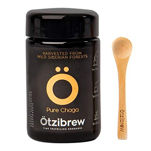 Ötzibrew Siberische Chaga Mushroom Extract Thee – 25 porties - Heet Drinken, Cafeïne, Zuivel & Glutenvrij alternatief voor koffie uit Wild Crafted Chaga Extract Poeder (25g) 100g