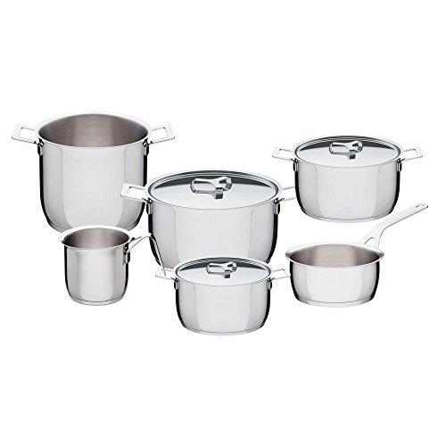 Alessi - Batería de Cocina (7 Piezas), Color Plateado