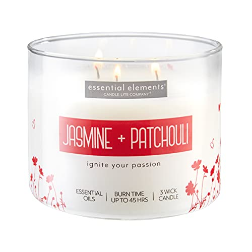 Essential Elements by Candle-Lite Company Scented Jasmine & Patchouli 3-Wick Jar Candle, 14.75 oz, Off White