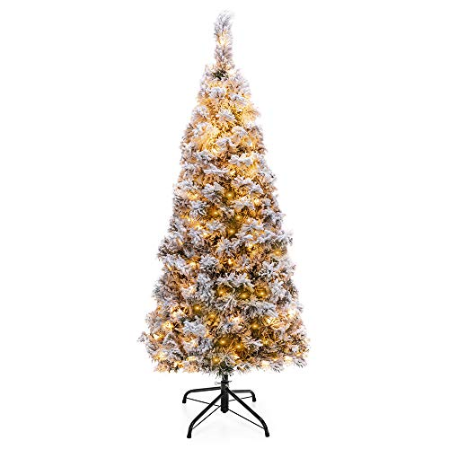 Best Choice Products 4.5ft Pre-Lit Artificial Snow Flocked Pencil Christmas Tree Holiday Decoration...
