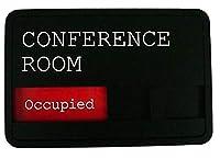 スライド式 サインプレート Conference Room 会議室 空室/使用中(設置用両面粘着テープ付き)・Available/Occupied Conference Room Slider Sign(w/double sided adhesive tape)