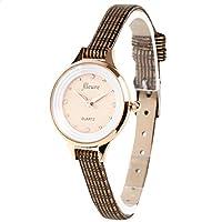 [VV16-PGBR] 腕時計 レディース ラインストーンウォッチ レザー (ピンクゴールド×ブラウン)