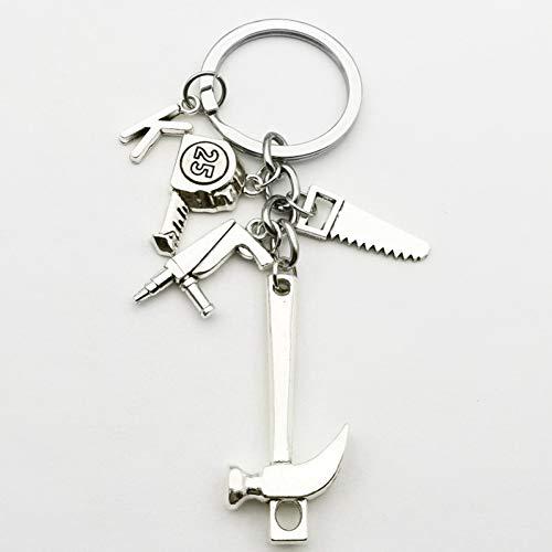N/ A Letter Sleutelhanger Hamer Elektrische Roterende Zagen Sleutelhanger Ring Dad Sieraden Gift Reparateur Gift Diy Handgemaakt